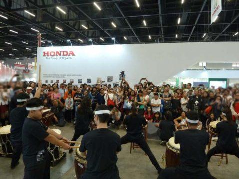 Sábado, 21 de julho, exibição dos tambores japones (taikô) em frente ao estande da Honda no Festival do Japão 2018. Foto: Amauri Yamazaki
